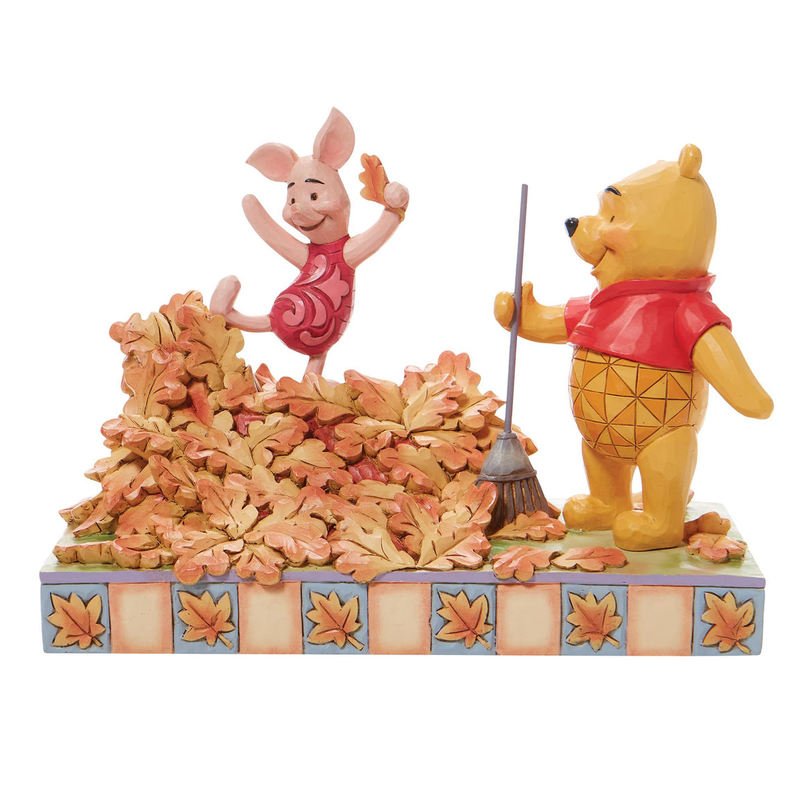 Jumping into Fall - Piglet and Pooh Autum Leaves Figurine- Disney Traditions by Jim Shore