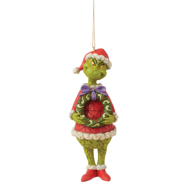 Grinch with Wreath Hanging Ornament - The Grinch by Jim Shore