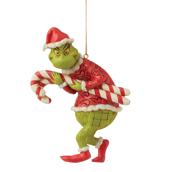 Grinch Stealing Candy Canes Hanging Ornament - The Grinch by Jim Shore