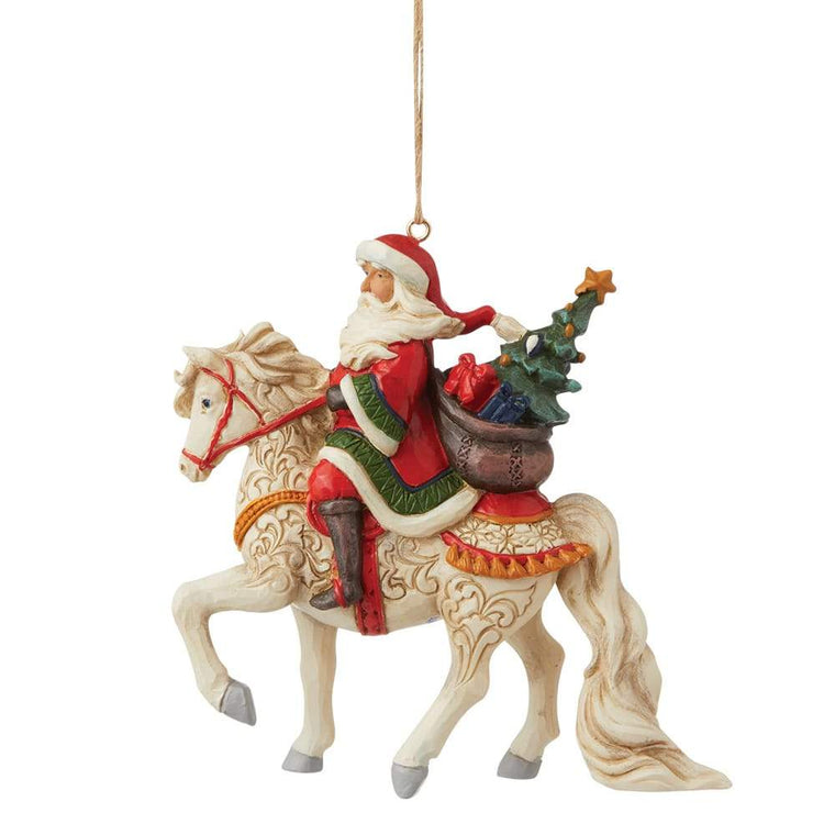 Santa Riding Horse Hanging Ornament - Heartwood Creek by Jim Shore
