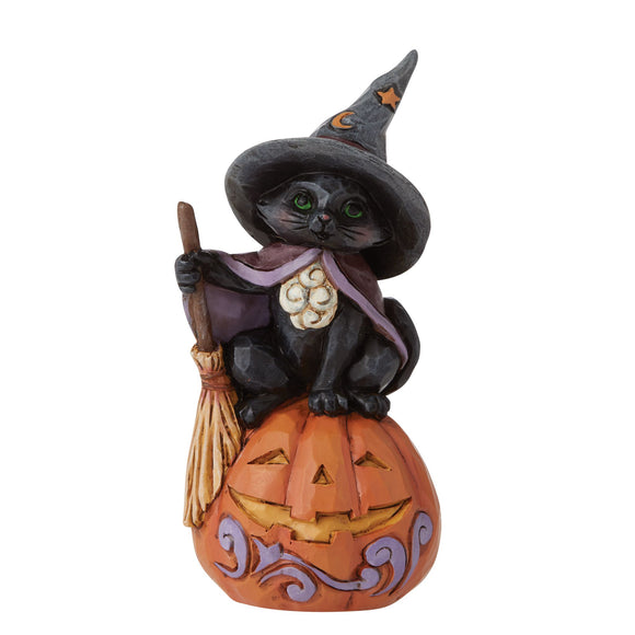 Mini Black Cat with Jack - O - Lantern Figurine - Heartwood Creek by Jim Shore