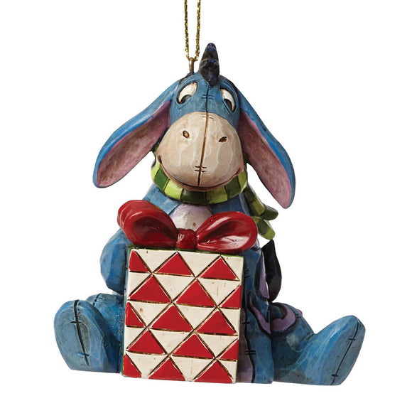 Eeyore with Red Present Hanging Ornament - Disney Traditions by Jim Shore