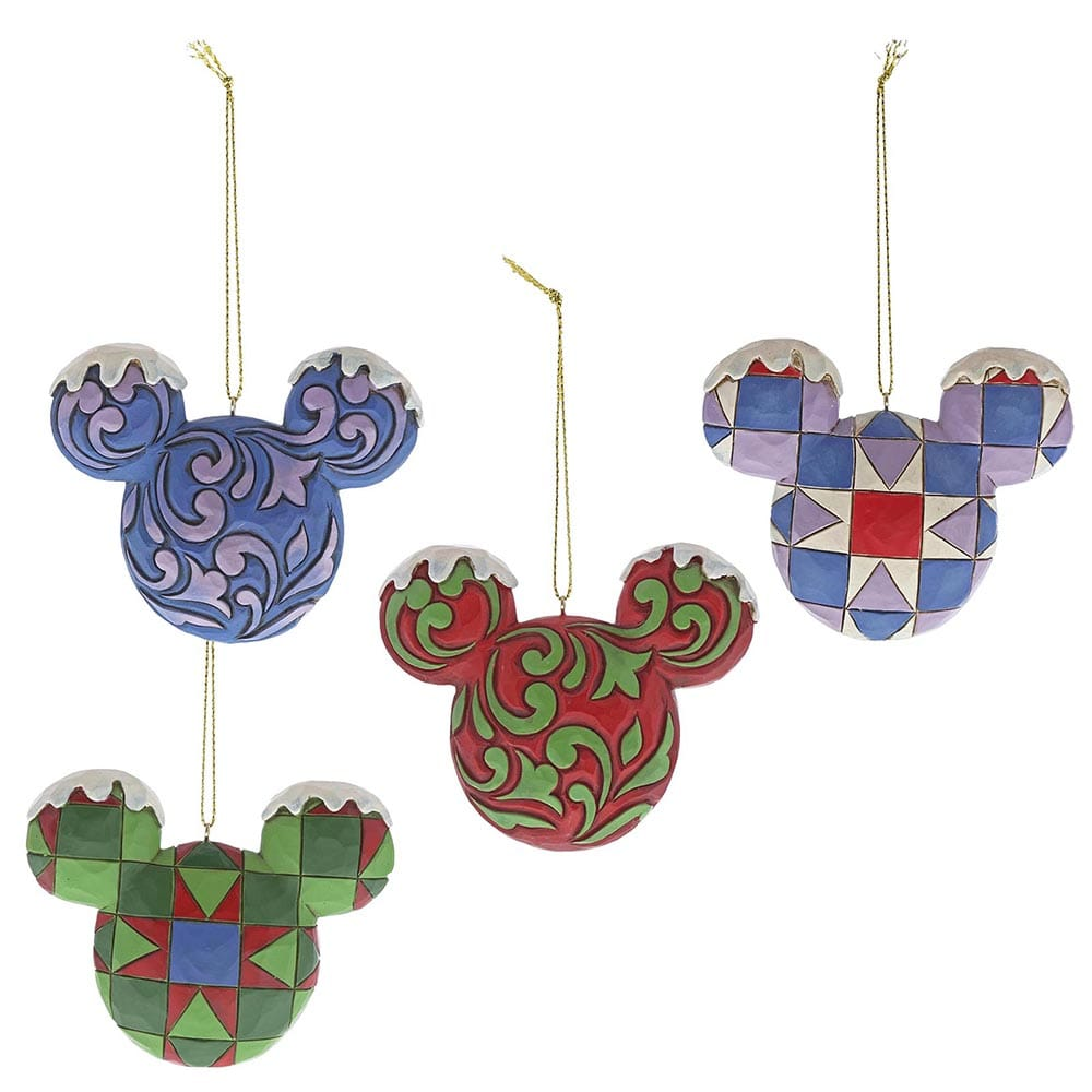 Mickey Mouse Head Hanging Ornament Set - Disney Traditions by Jim Shore