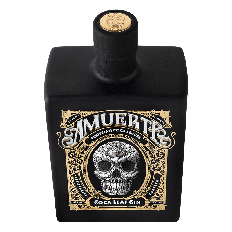 Amuerte Coca Leaf Gin Black Bottle Top