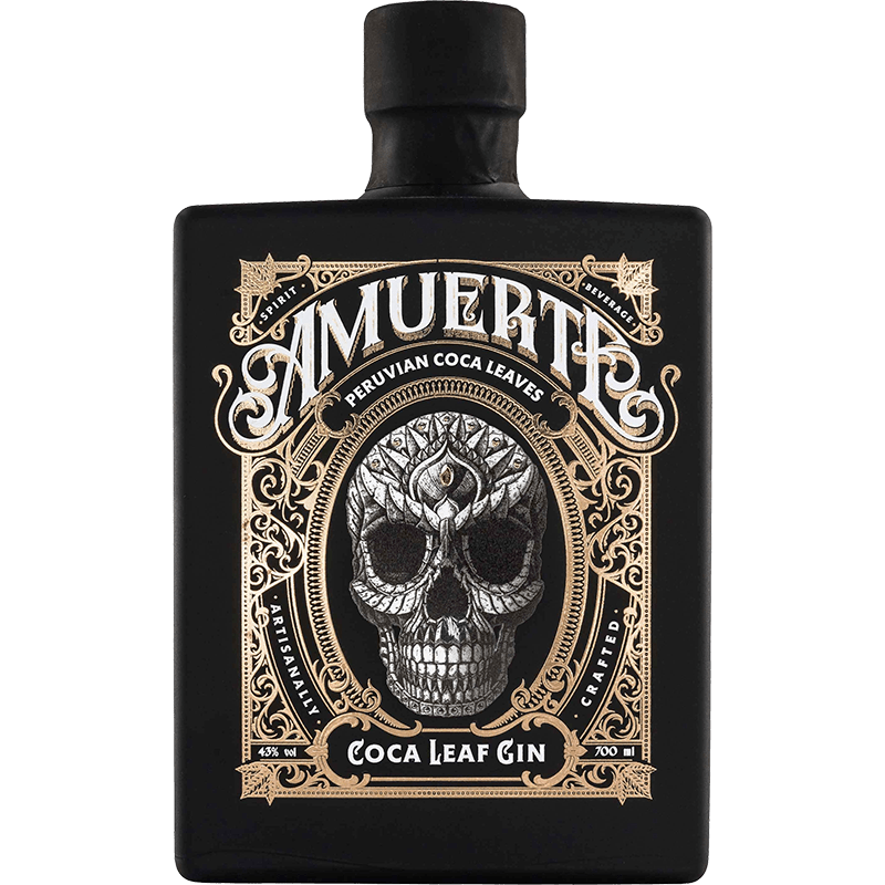 Amuerte Coca Gin Black Bottle Front