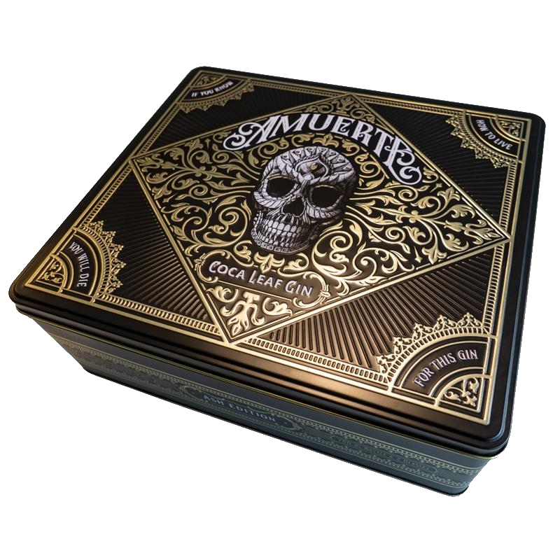 Amuerte Coca Leaf Gin Box Black whith 2 glass (2055281115225)