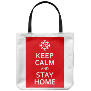 Keep Calm And Stay Home Tote Bag feat. Coronavirus Symbol