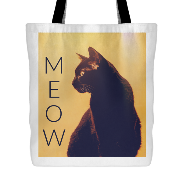 Black Cat Meow Retro Inspired Tote Bag