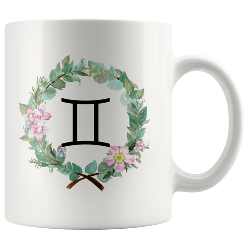 Gemini Zodiac Mug - Wreath Design