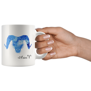 Aries Mug - Watercolor Design Aries Coffee Mug - Shade of Blue - Astrology Zodiac Horoscope - Gifts for Aries