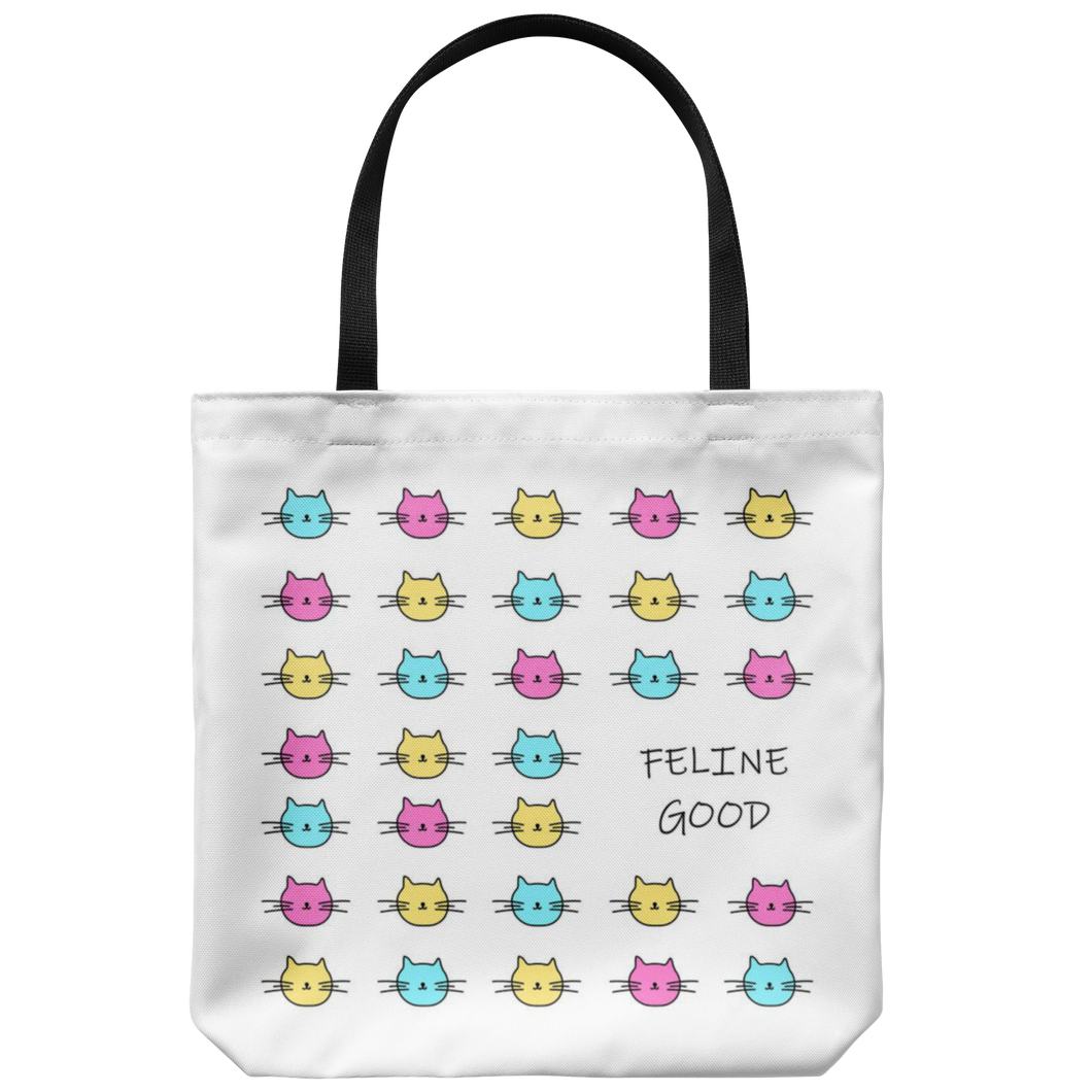 Feline Good Cat Pattern Tote Bag
