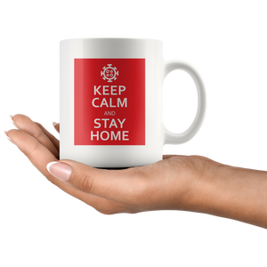 Keep Calm & Stay Home Mug with Coronavirus Symbol