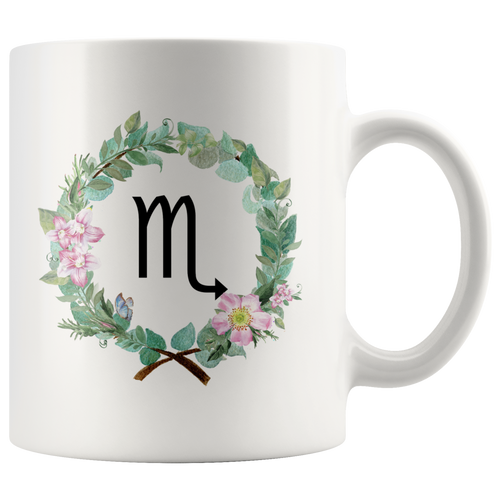 Scorpio Zodiac Mug (Wreath Design)