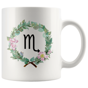 Zodiac Scorpio Mug (Wreath Design)