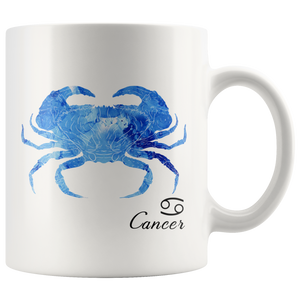 Cancer Mug (Zodiac) - Gift for Cancer Star Sign - Watercolor Design Cancer Zodiac Tea Cup Coffee Mug