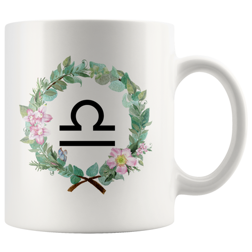 Libra Zodiac Mug - Wreath Design