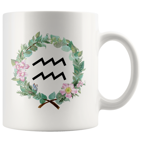 Aquarius Zodiac Mug - Wreath Design