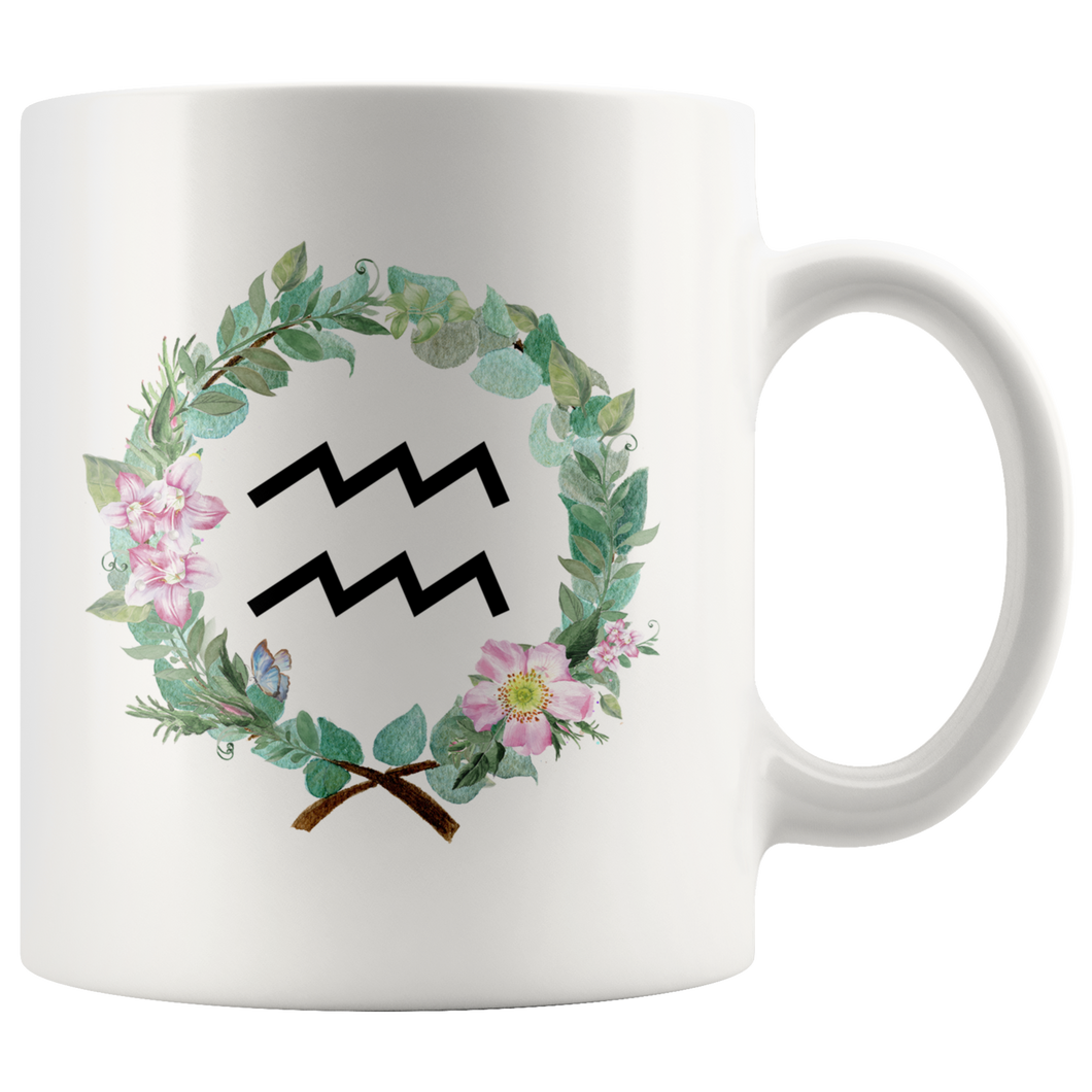 Aquarius & Floral Wreath 11oz Coffee Mug - Tea Cup - Astrology Zodiac Mug
