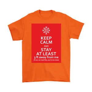 Keep Calm & Stay At Least 3 ft Away Men's T-Shirt with Coronavirus Symbol