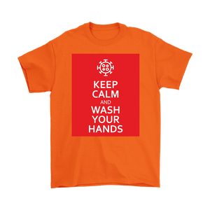 Keep Calm And Wash Your Hands Covid-19 Men's T-shirt feat. Coronavirus Symbol