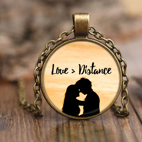 Love Is Greater than Distance Pendant Necklace - Sunset Design