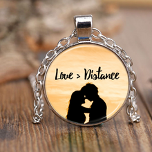 Love Is Greater than Distance Unique Pendant Necklace - Sunset Design