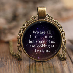 We Are All In The Gutter Oscar Wilde Quote Necklace