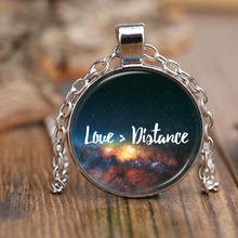 Love Is Greater than Distance Pendant Necklace - Galaxy Design