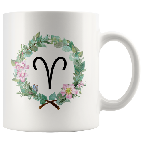 Aries Zodiac Mug - Wreath Design