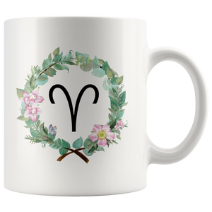 Aries Coffee Mug - Wreath Design Mug - 11oz Tea Cup - Gifts for Aries - Horoscope Astrology Zodiac Mug