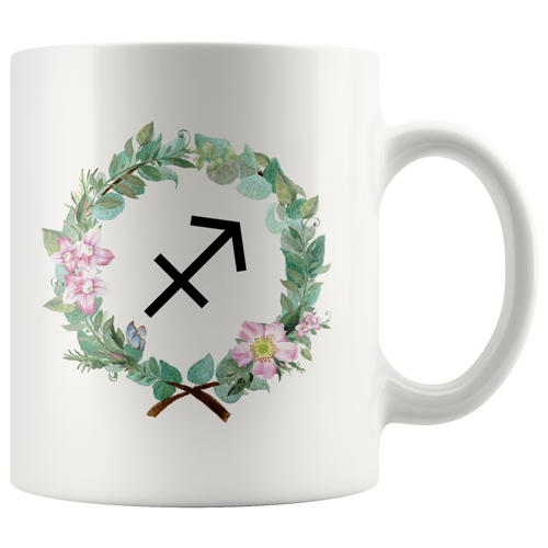 Sagittarius Mug (Wreath Design)