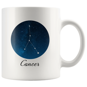 Cancer Constellation Mug - 11oz Cancer Star Sign Zodiac Tea Cup Coffee Mug - Horoscope Astrology Gift for Cancer