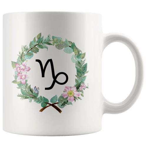 Capricorn Coffee Mug - Zodiac Mug  - Wreath Design
