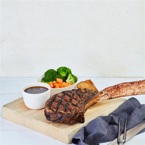 Oven Roasted Aged Tomahawk Steak, Red Wine Sauce (1 kg)+ 4 Side Dishes (For 4 - 6 Persons)
