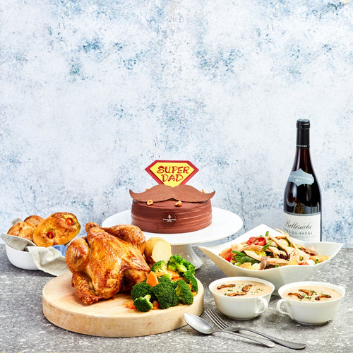 Father's Day Exclusive Takeaway - Five-Course Menu for 3 - 4 Persons with a Bottle of Red Wine from Côtes-du-Rhône, France