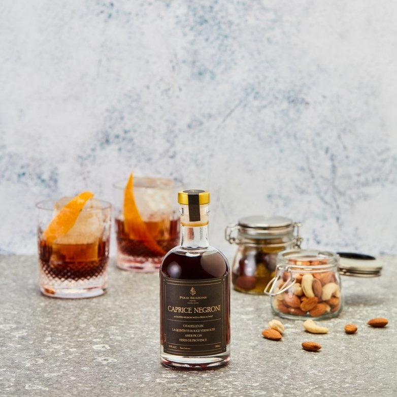 Caprice Negroni (200ml) with Flavoured Almonds and Flavoured Olives