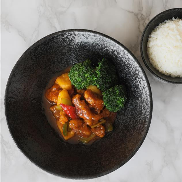 Sweet and Sour Pork With Steamed Rice