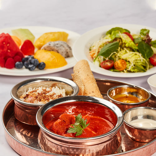 Three-Course Indian Set Menu - Mixed Garden Green Salad + Classic Indian Butter Chicken + Seasonal Fruit Platter