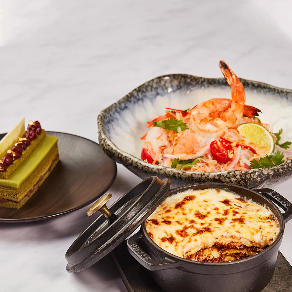 Three-Course Set Menu 2 - Thai Glass Noodle Salad + Traditional Lasagna Bolognese + Kyoto Matcha Cake With Red Beans