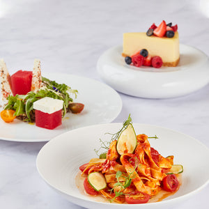 Three-Course Set Menu 4 - Organic Three Color Quinoa + Fettuccine Pasta with Creamy Red Pesto Sauce + Cheese Cake with Mixed Berries