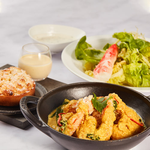 Three-Course Set Menu 6 - Alaskan King Crab Salad + Thai Blue Prawn Curry + Apple Crumble Tart with Cinnamon Vanilla Sauce