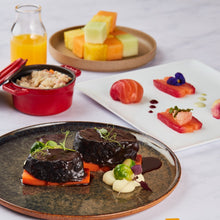 Three-Course Set Menu 7 - Beetroot Cured Salmon Loin + Braised Beef Cheek with Shiraz Sauce + Fresh Fruit Salad with Passionfruit Infusion