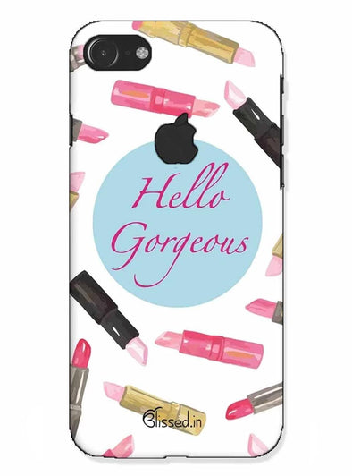 hello gorgeous |iphone 7 logo cut Phone Case
