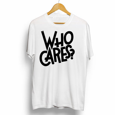 Who Cares? | Half sleeve White Tshirt