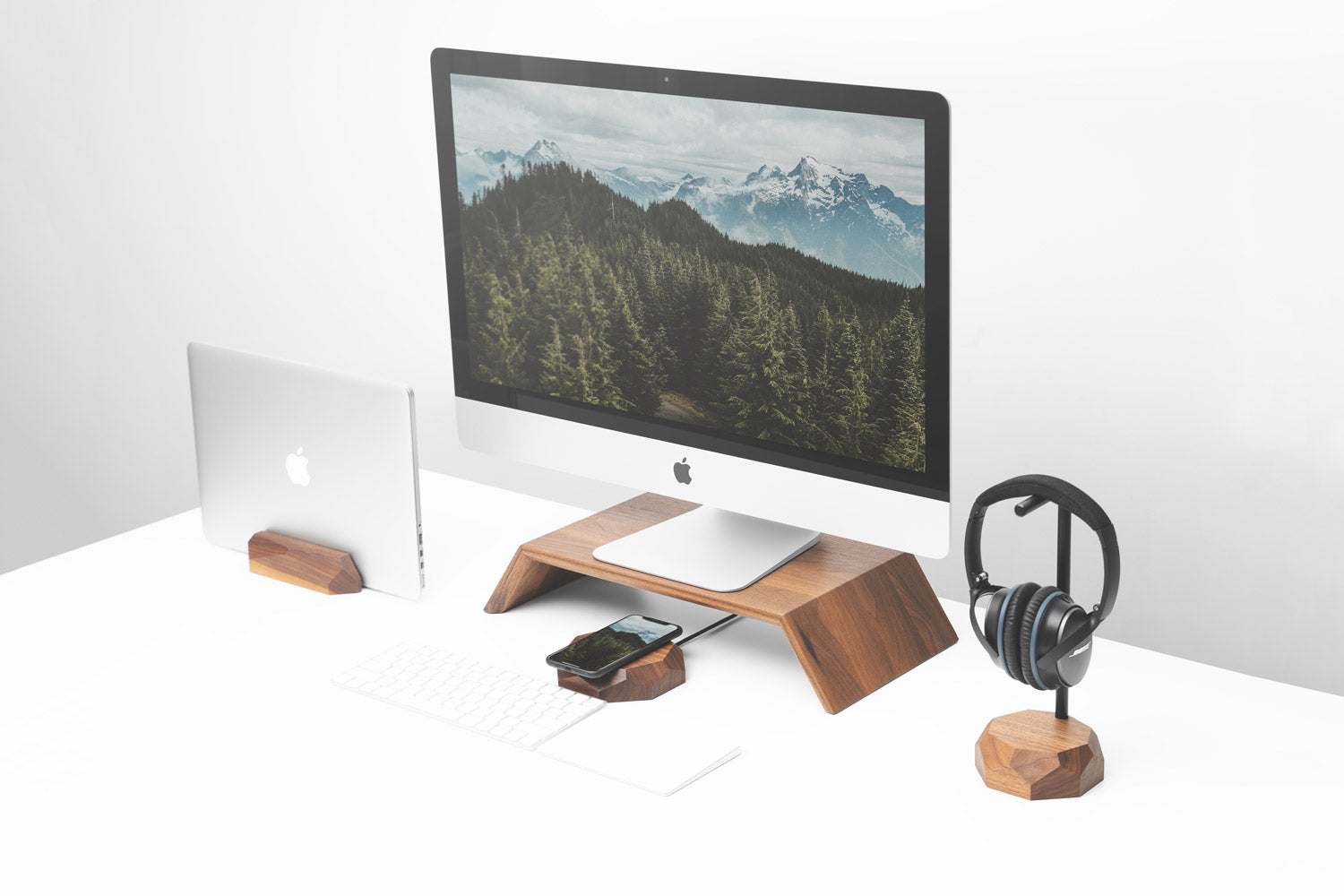 wooden laptop & monitor accessories by Oakywood