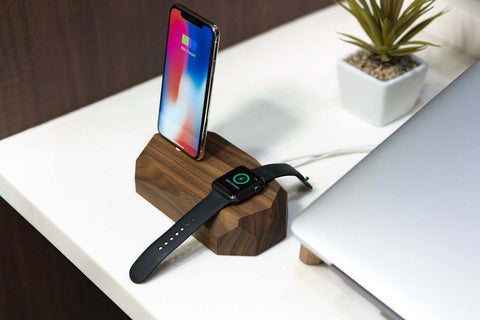 wooden iphone & apple watch dock