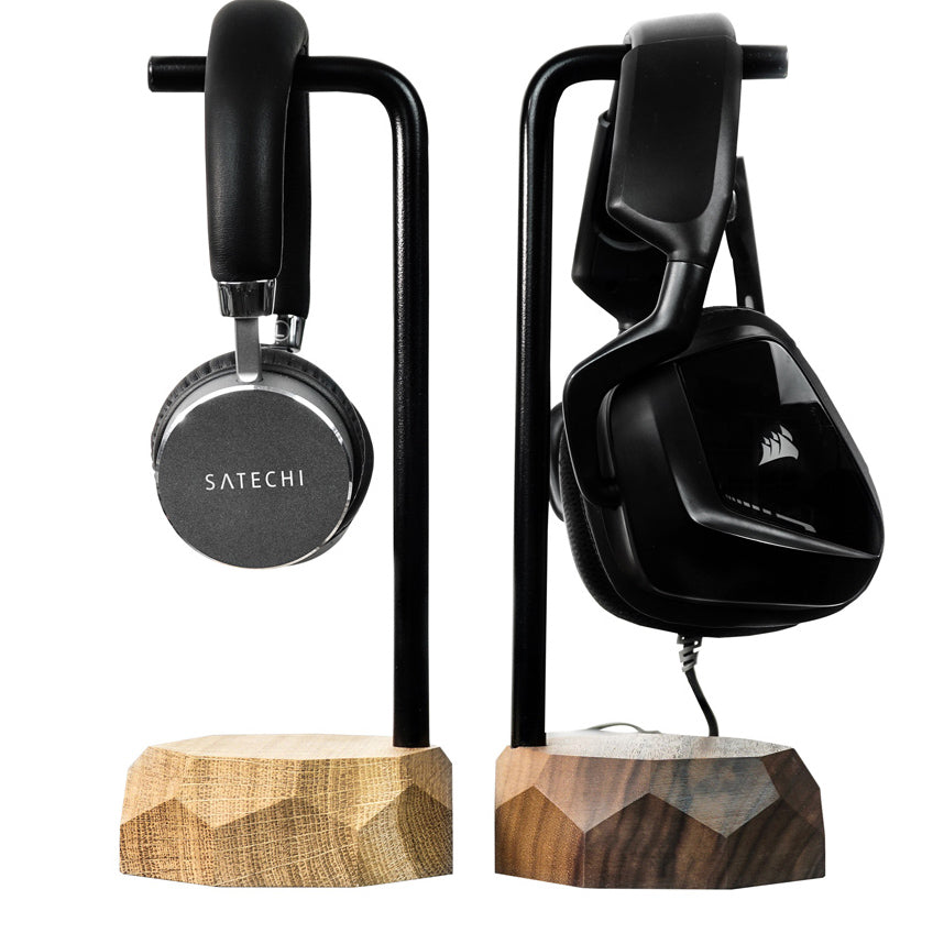 headphone stand made of wood