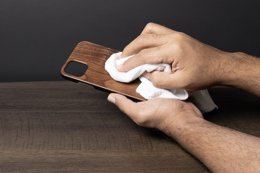 how to clean wooden phone case