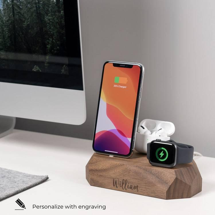 wooden charging dock iPhone, Apple Watch, AirPods charger