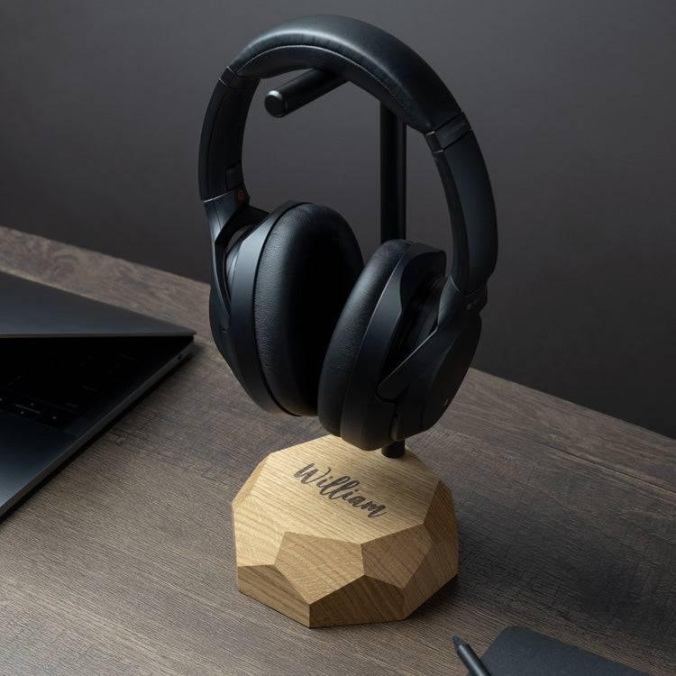 Wooden headphone stand personalized